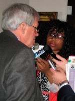 Denny Hastert, former Speaker of the House, being interviewed by media at 2015 Lincoln Funeral Coalition press conference. Photo by Dianne Combs.