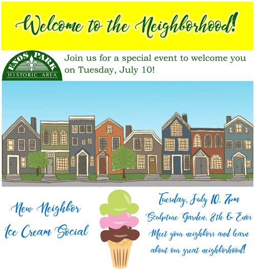 New Neighbor Ice Cream Social – Tuesday, July 10th, 7pm at Sculpture Garden