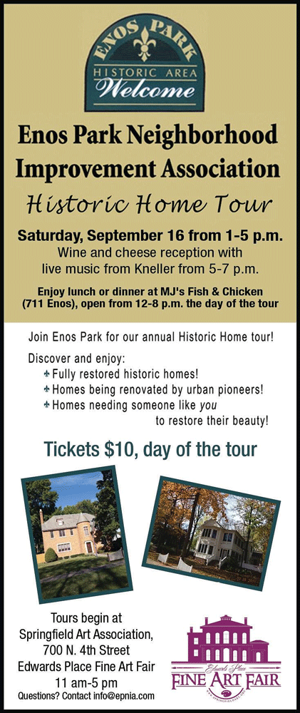 Join Enos Park Neighborhood Improvement Association for our Annual Historic Home Tour on September 17, 2017 from 1-5 pm.