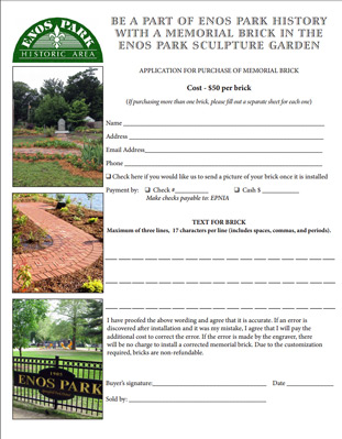Be a part of Enos Park history with a memorial brick in the sculpture garden.